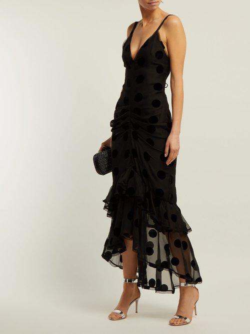 Skylar Polka Dot Ruched Dress by Maria Lucia Hohan