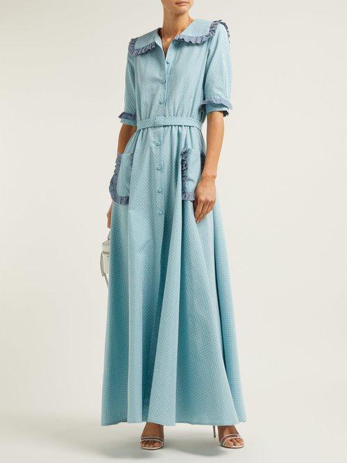 Ruffled Polka Dot Cotton Blend Midi Dress by Luisa Beccaria