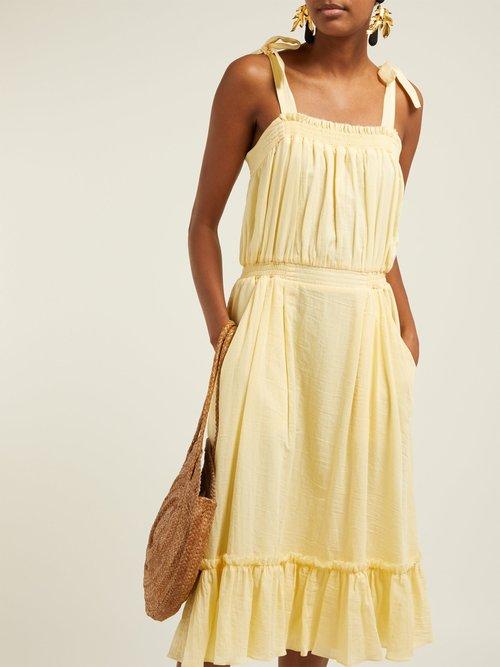 Tybee Gathered Organic Cotton Midi Dress by Loup Charmant
