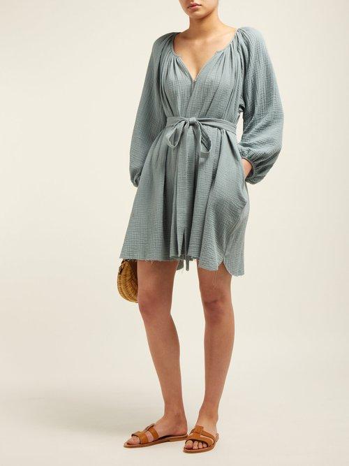 Peasant Gathered Cotton Gauze Mini Dress by Loup Charmant