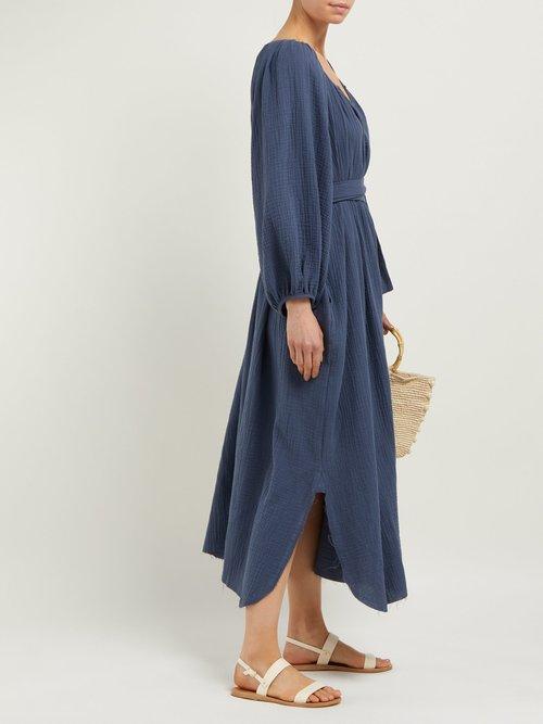 Textured Organic Cotton Gauze Midi Dress by Loup Charmant