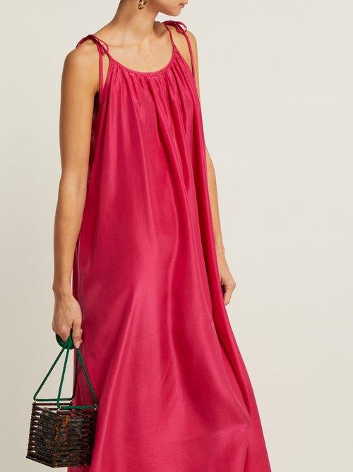 Photo of Tie Shoulder Silk Dress by Loup Charmant - shop Loup Charmant dresses online sales