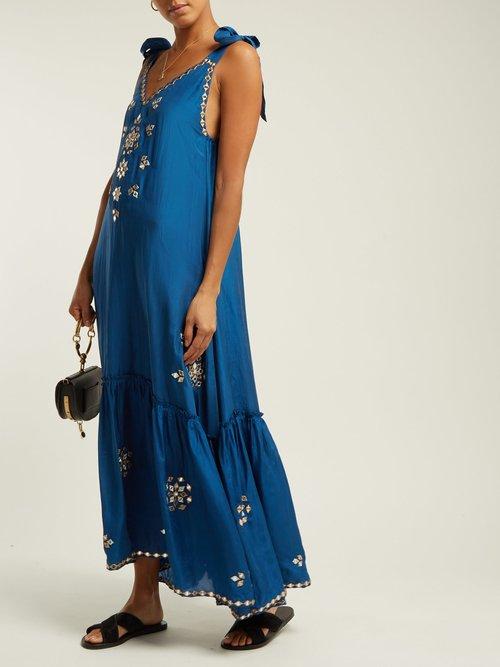 Mirror Work Silk Satin Maxi Dress by Juliet Dunn