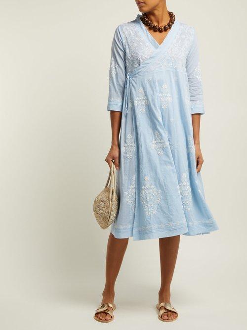 Embroidered Cotton Wrap Dress by Juliet Dunn