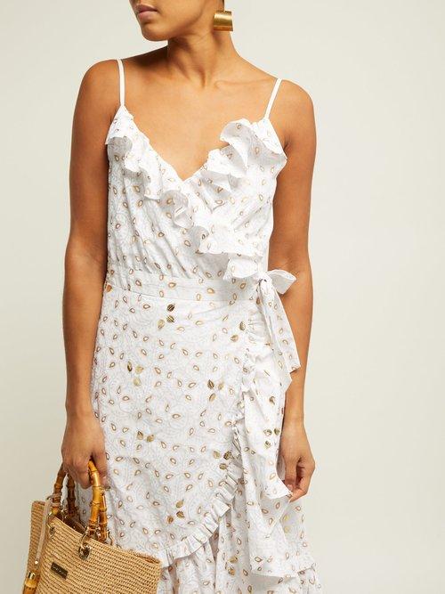 Gold Leaf Print Ruffled Wrap Dress by Juliet Dunn