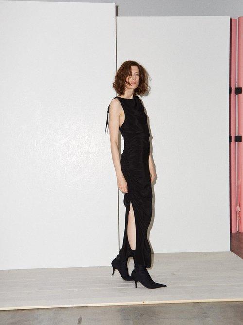 Gathered Side Backless Silk Dress by Raey