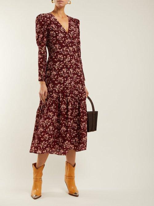 Tilda Floral Print Silk Midi Dress by Rebecca Taylor