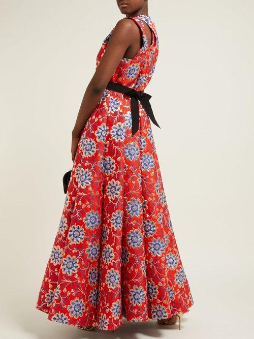 Grosgrain Belt Floral Brocade Gown by Maison Rabih Kayrouz