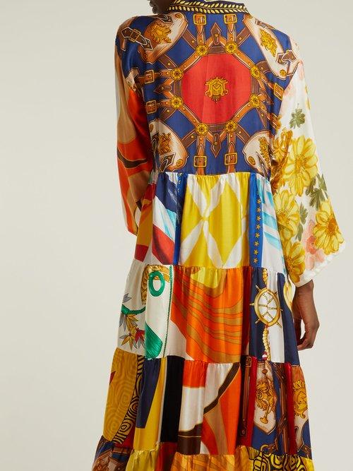 Vintage patchwork silk maxi dress by Rianna + Nina