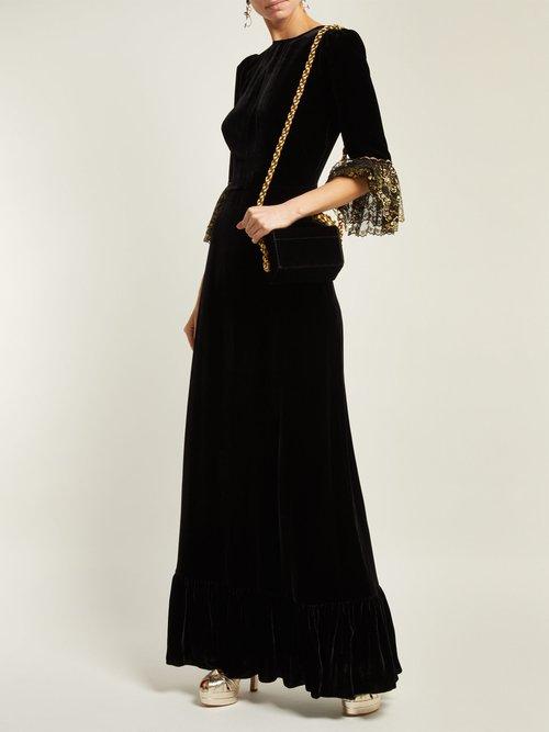 Festival Lace Trimmed Velvet Midi Dress by The Vampire'S Wife