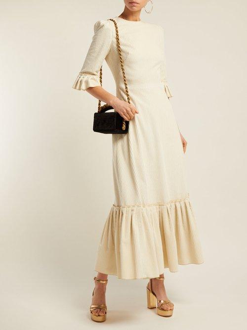 Festival Ruffle Trimmed Velvet Corduroy Dress by The Vampire's Wife