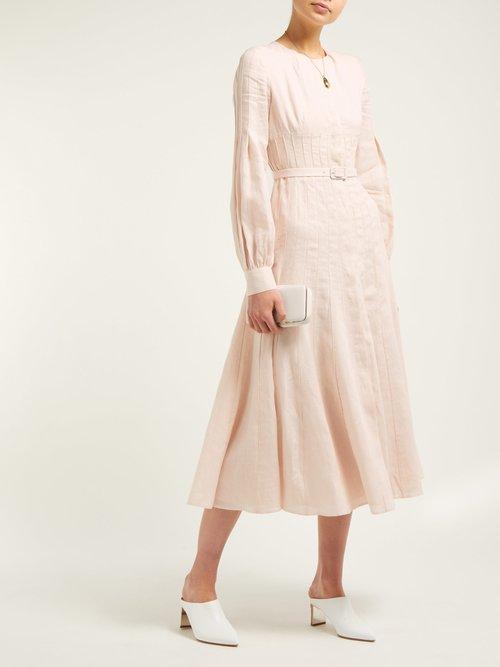 Gertrude Aloe Vera Infused Linen Midi Dress by Gabriela Hearst