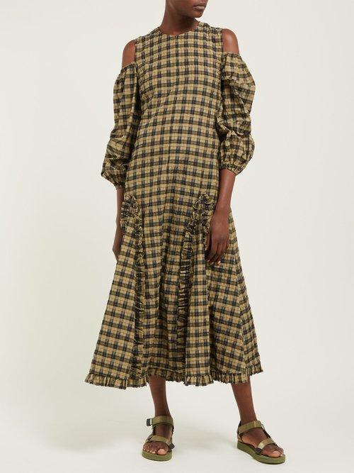 Charron Check Cut Out Maxi Dress by Ganni