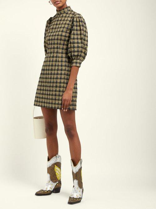 Checked Cotton Blend Mini Dress by Ganni