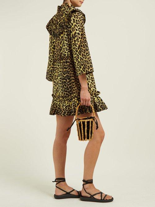 Bijou Leopard Print Cotton Mini Dress by Ganni