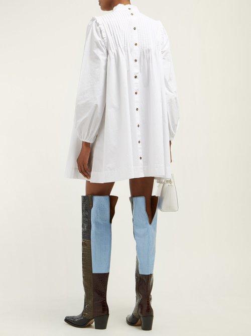 Slate Pintucked Cotton Poplin Dress by Ganni