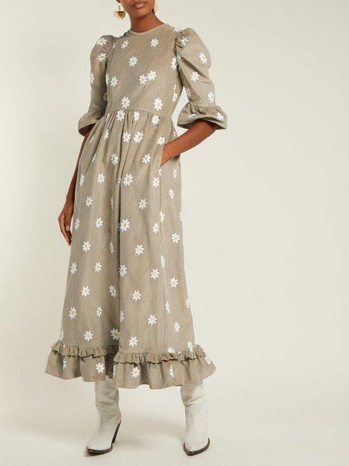 Daisy Embroidered Ruffled Corduroy Dress by Batsheva