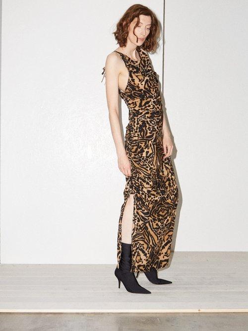 Gathered Side Backless Silk Tiger Print Dress by Raey
