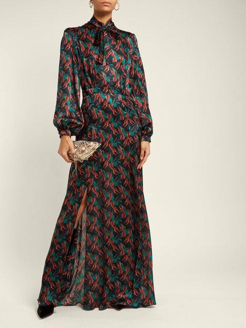 Armonia Leopard Print Silk Satin Dress by Raquel Diniz
