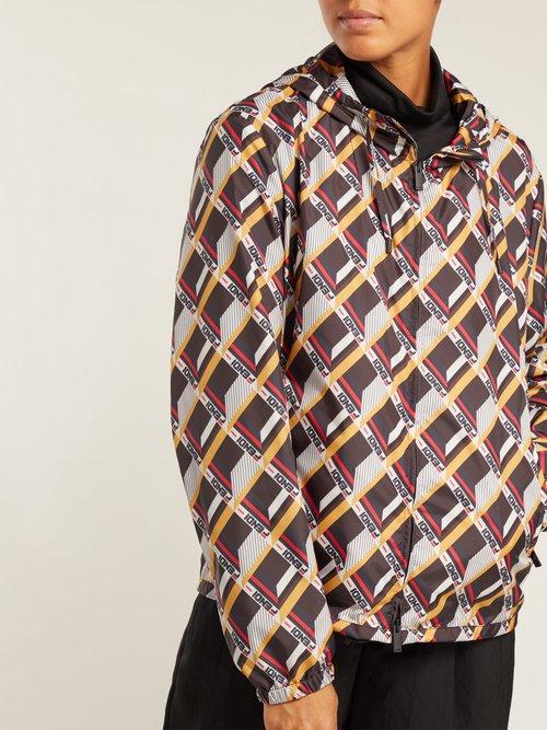 Mania Cube Print Hooded Jacket by Fendi