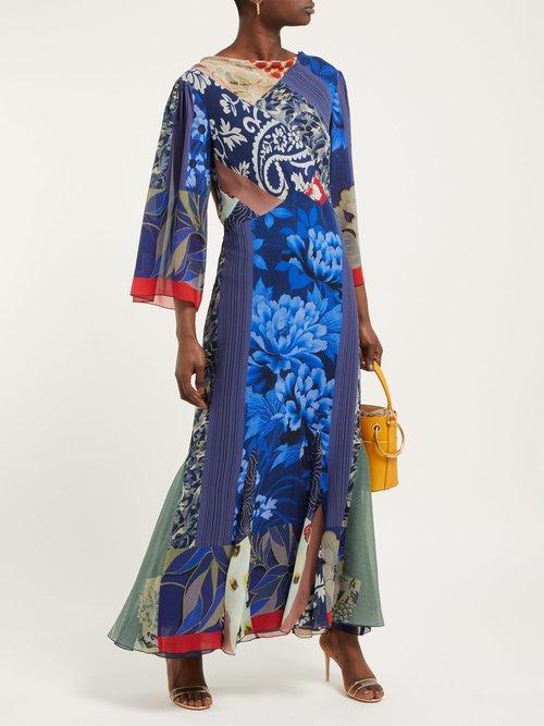 Patchwork Print Silk Chiffon Dress by Etro