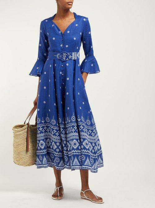 Geometric Print Linen Midi Dress by