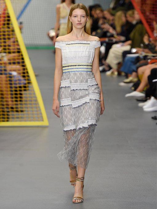 Gaze off-the-shoulder smocked dress Peter Pilotto mBOv2E8