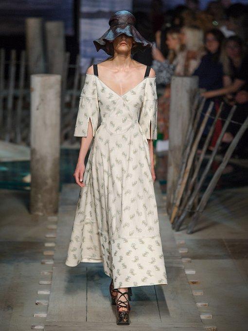 Erdem Karol Ottoman Cotton-Blend Dress, Blue White