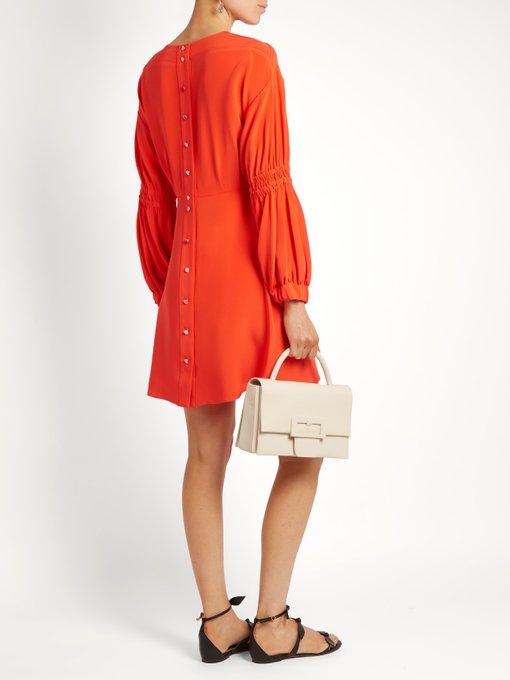 Tibi Balloon Sleeve Short Dress, Vermillion Red