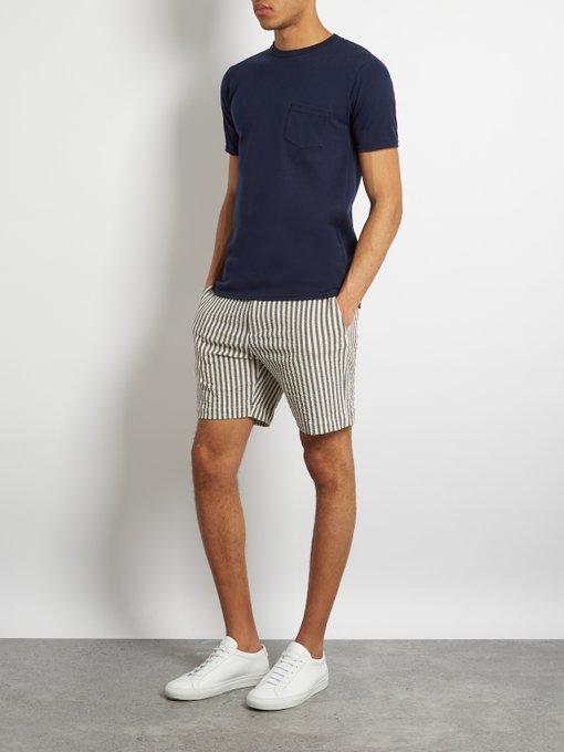 Striped Cotton Blend Seersucker Shorts De Bonne Facture