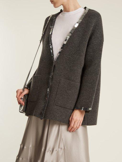 3610a441fad4 Sequin-embellished V-neck wool-blend knit cardigan