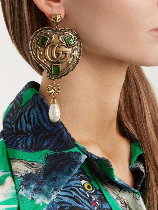 Gucci Feline GG-heart drop earrings 53q6VB