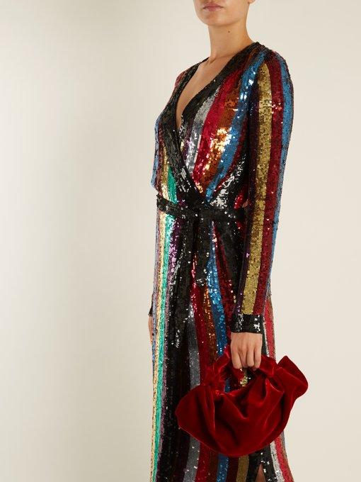 Grace Sequin Embellished Wrap Dress Attico