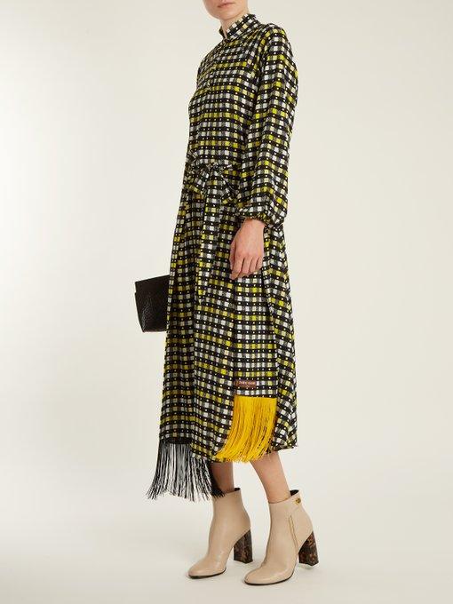 Napoli check-print puff-sleeved dress Duro Olowu Sale th6Wgiay0