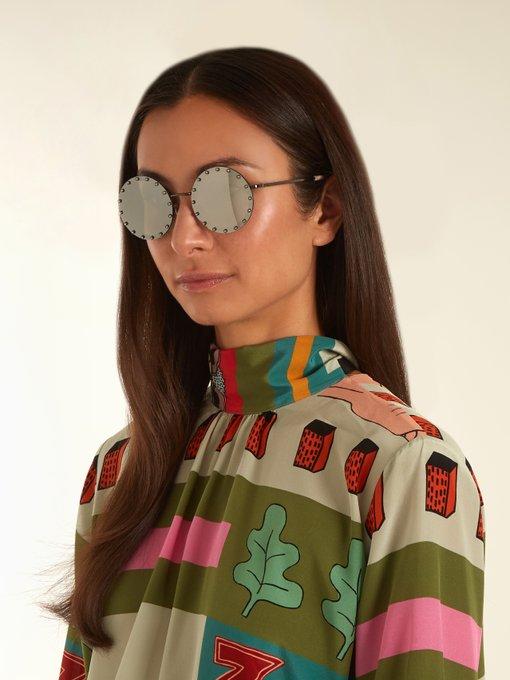 fe2f2ed744 Valentino Round Crystal-rim Sunglasses