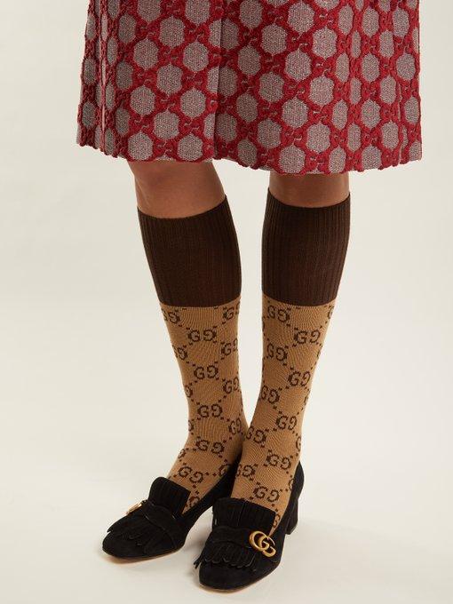 Gg Jacquard Cotton Blend Knit Socks Gucci