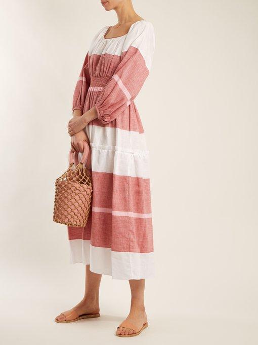 Puff-sleeved striped linen-blend dress G mLCTjt4