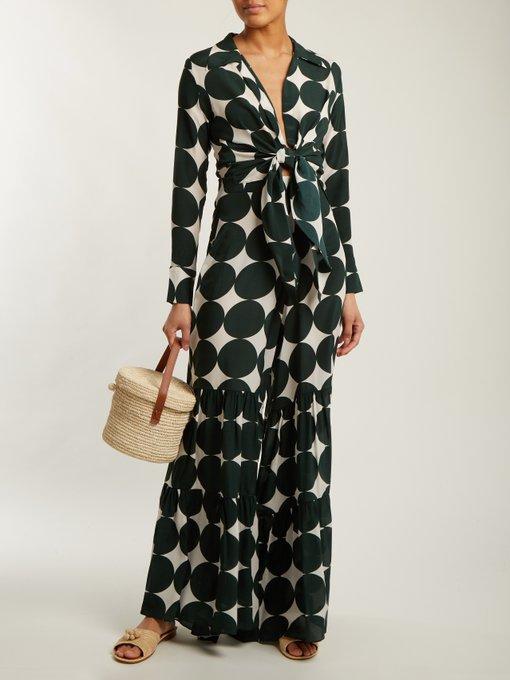 Cacao polka-dot print trousers Adriana Degreas E0b22Wl8K