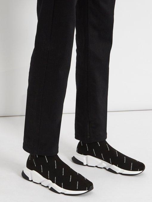 Speed logo-print sock trainers
