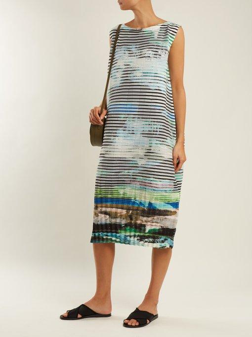 Plate Pleats landscape-print sleeveless dress Issey Miyake Yqzfr3