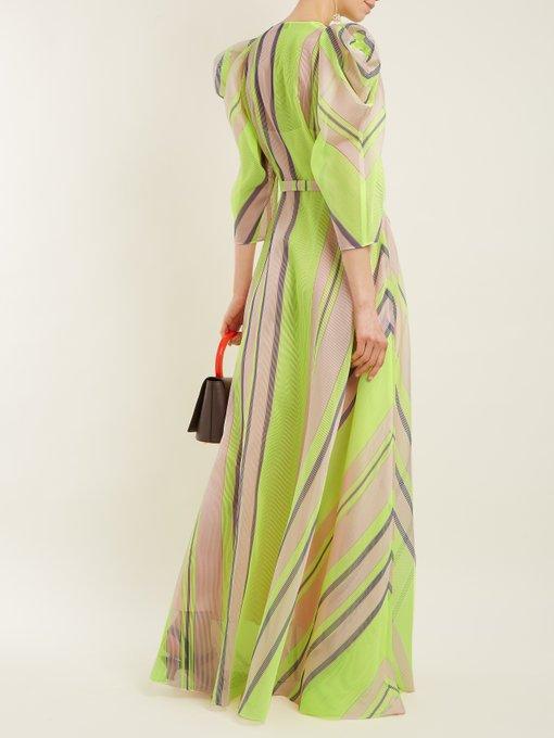 Puff-sleeved striped organza gown Vika Gazinskaya EGX4b7qH5A