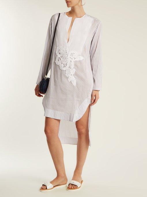 1813 V-slit striped cotton-blend shirt Lila.Eugénie Cheap Sale 100% Guaranteed 2018 Discount Cheap Sale Comfortable Clearance Find Great OgAaa24Vu
