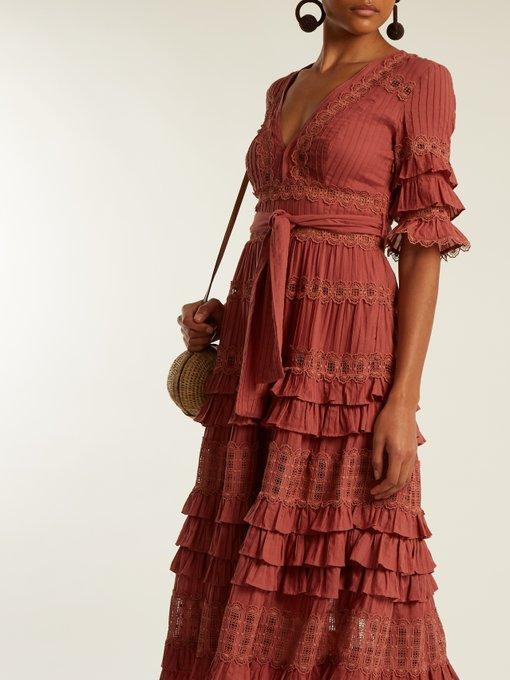 Corsair deep V-neck ruffled cotton midi dress Zimmermann OrIgIgefii