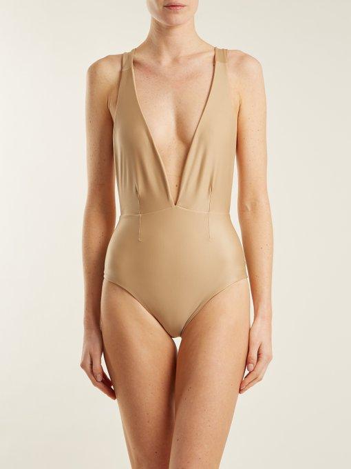 76aafb6190d92 Haight Marina Deep V-Neck Swimsuit In Nude