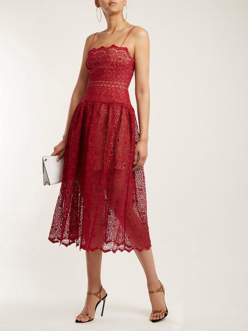 con encaje pierna de caída a vestido cintura media floral Autorretrato wZvCtxqnBx