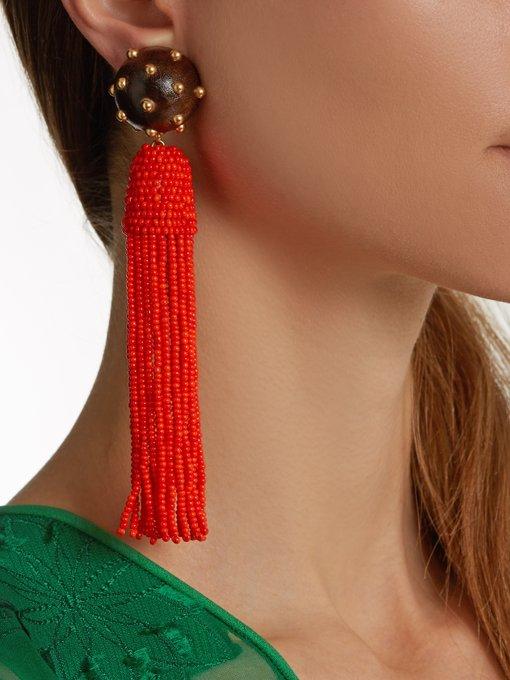 Vanda Jacintho Tassel-drop clip-on earrings behndg