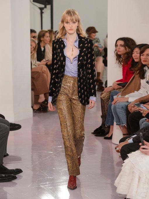 Straight-leg python-print leather trousers | Chloé