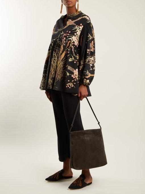 Theresa Cherry Blossom-print silk top By Walid Cheap Sale Explore AoRAktE