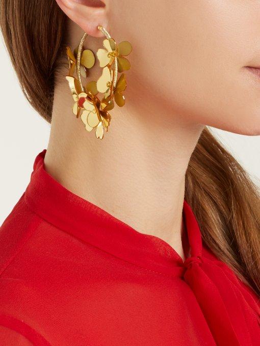 Oscar De La Renta Flower Garden Hoop Earrings jTYXsHJ6O