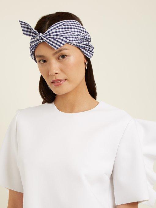 Gingham-print cotton headband Federica Moretti vSx1Q5pgA